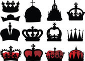 Black and red crown collection — Stock Vector