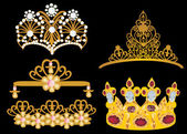 Gold crown and diadem collection — Stock Vector