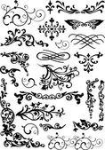 Conjunto de caracóis florais pretos — Vetor de Stock