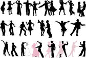 很多的舞者剪影 — 图库矢量图片