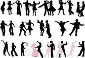 A lot of dancer silhouettes — Cтоковый вектор
