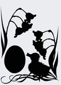 Duckling and egg silhouette — Stock Vector