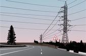 Electric line near turn — Stock Vector