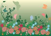 Grün und rosa schmetterlinge, blumen — Stockvektor