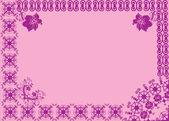 Violet asymmetric frame on pink — Stock Vector