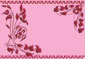 Dark red floral frame on pink — Stock Vector