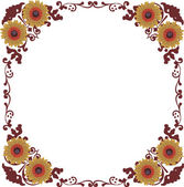 Brown floral frame decoration on white — Stock Vector
