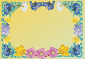 Blue, yellow and pink flower frame — Stock Vector
