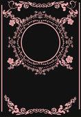Pink frame decoration on black — Stock Vector