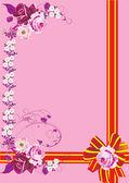 ピンクのバラと赤いリボン — ストックベクタ