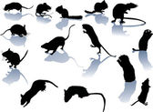 Fourteen rodent silhouettes — Stock Vector