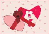 ピンクの心の図 — ストックベクタ