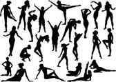 Twenty three silhouettes — Stock Vector
