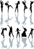 Ten dancing girls — Stock Vector