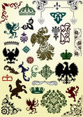 Heraldic animals and ornaments set — Stock Vector