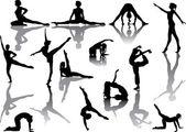 Thirteen girl silhouettes — Stock Vector