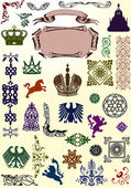 Set of heraldic animals and ornaments — Stock Vector