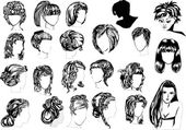 Twenty two woman hairstyles — Stock Vector
