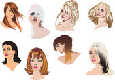 Heads with modern hairstyles — Stock Vector