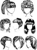 Ocho peinados de mujer — Vector de stock