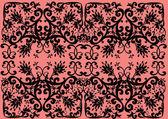 Zwart rechthoekig decoratie op roze — Stockvector