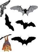 Seis morcego em branco — Vetor de Stock