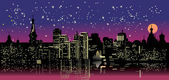 Night city under star sky — Vecteur