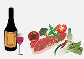 вино, мясо и овощи — Cтоковый вектор