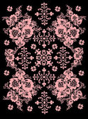 Pink symmetric pattern with flowers — Stock Vector