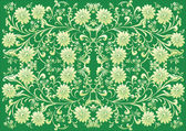 Green flower symmetrical background — Stock Vector