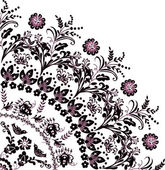 Black with pink flower quadrant ornament — Stock Vector