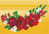Red roses on gold background — Stock Vector