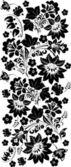 Zwart streep met vier grote bloemen — Stockvector