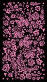 Rosa dekoration med två fåglar — Stockvektor