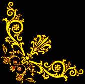 Gold corner design on black — Stock Vector
