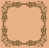 Brown floral frame on beige — Stock Vector