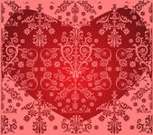 Pink floral background with heart — Stock Vector