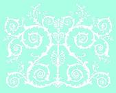 Blanc sur bleue décoration enroulée — Vecteur