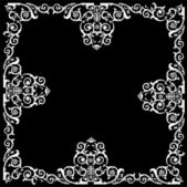 Curled painted frame on black — Stock Vector