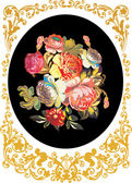 Rose flower design in gold frame — Stock Vector