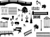 Large set of park elements — Stock Vector