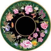 Vlinders en grote rozen ronde — Stockvector