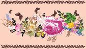 Flower stripe with butterflies — Stock Vector