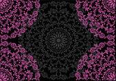 Rosa kvadranter på svart mönster — Stockvektor