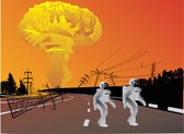 Atomic explosion and robots — Stock Vector