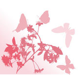 花科和四个蝴蝶 — 图库矢量图片