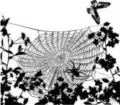Spinne im Blumen-Abbildung — Stockvektor