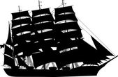 Large sailer silhouette — Stock Vector