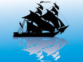 Black ship with reflection on blue — Stock Vector
