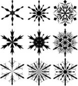 Set of nine snowflakes — Stock Vector